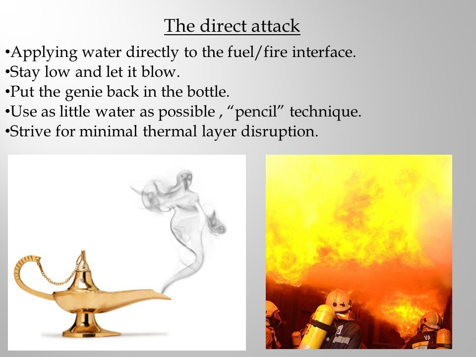 The direct attack Applying water directly to the fuel/fire interface.