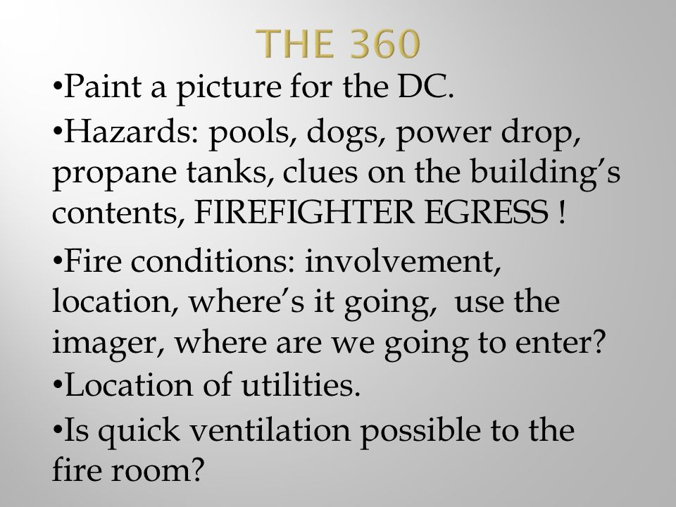 THE 360 Paint a picture for the DC.