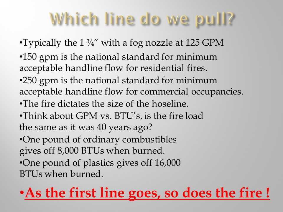 Which line do we pull As the first line goes, so does the fire !