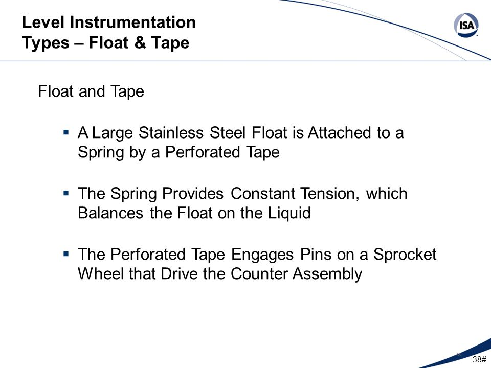 Level Instrumentation Types – Float & Tape