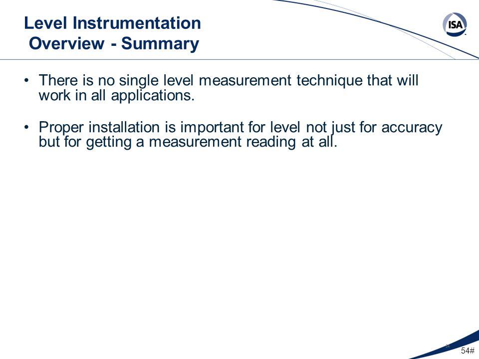 Level Instrumentation Overview - Summary