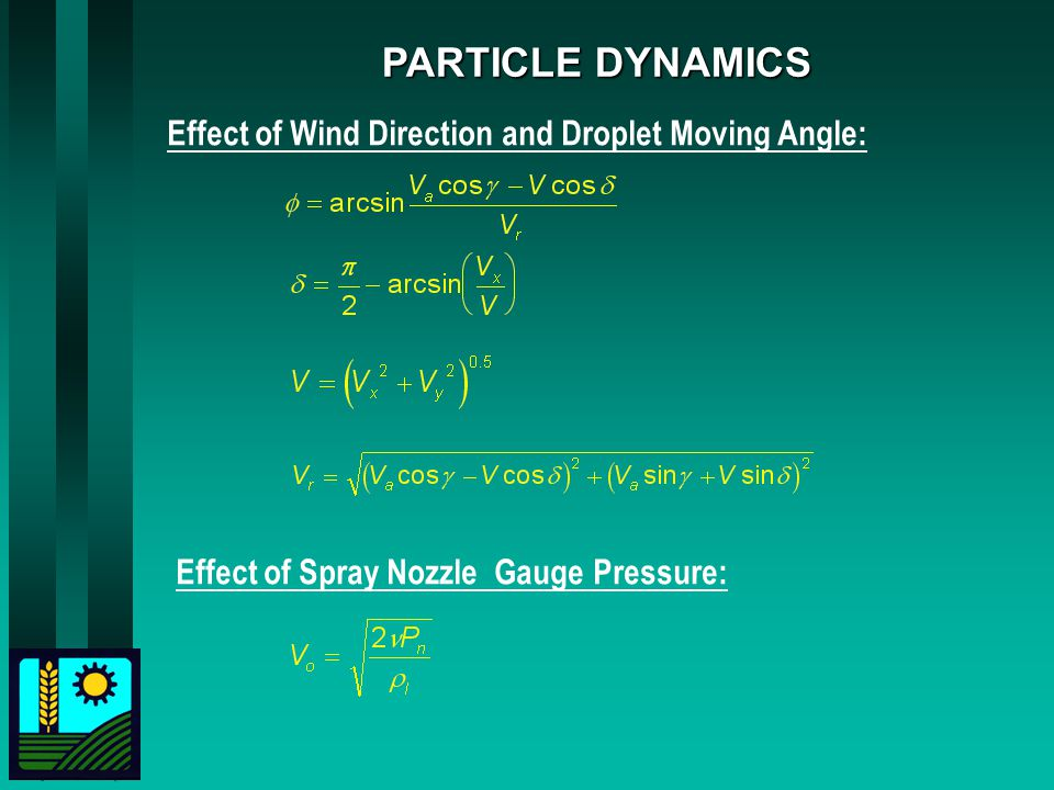 PARTICLE DYNAMICS Effect of Wind Direction and Droplet Moving Angle: