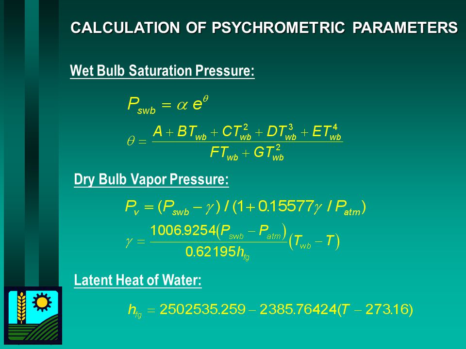CALCULATION OF PSYCHROMETRIC PARAMETERS