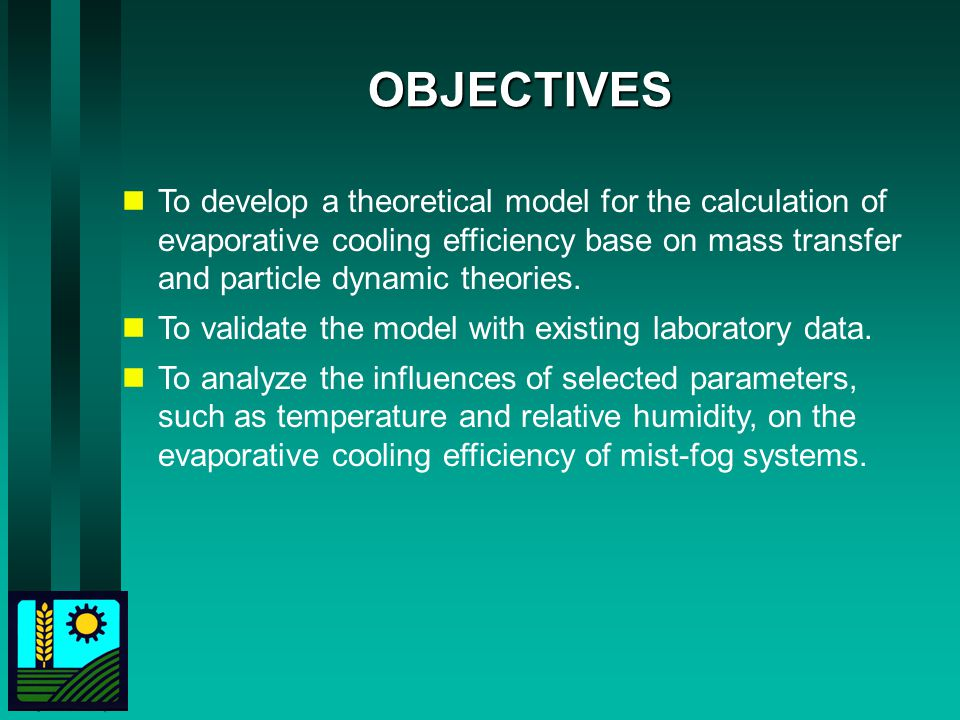 OBJECTIVES To develop a theoretical model for the calculation of evaporative cooling efficiency base on mass transfer and particle dynamic theories.