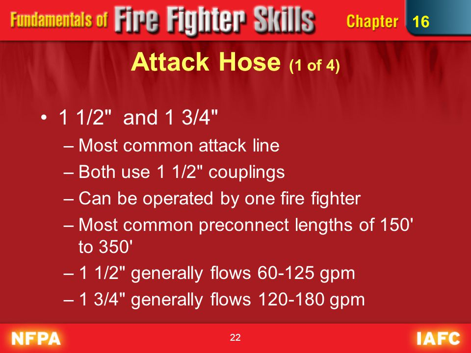 Attack Hose (1 of 4) 1 1/2 and 1 3/4 Most common attack line
