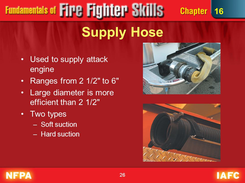 Supply Hose 16 Used to supply attack engine Ranges from 2 1/2 to 6