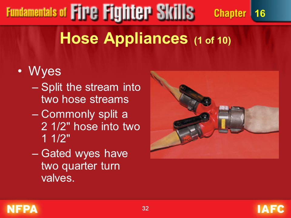 Hose Appliances (1 of 10) Wyes Split the stream into two hose streams