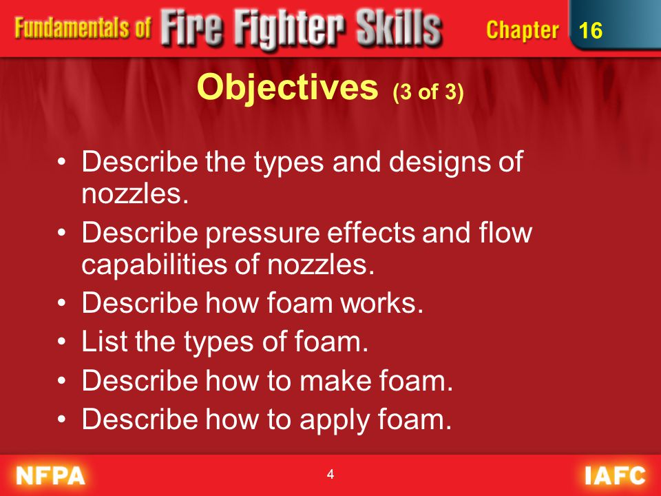 Objectives (3 of 3) Describe the types and designs of nozzles.