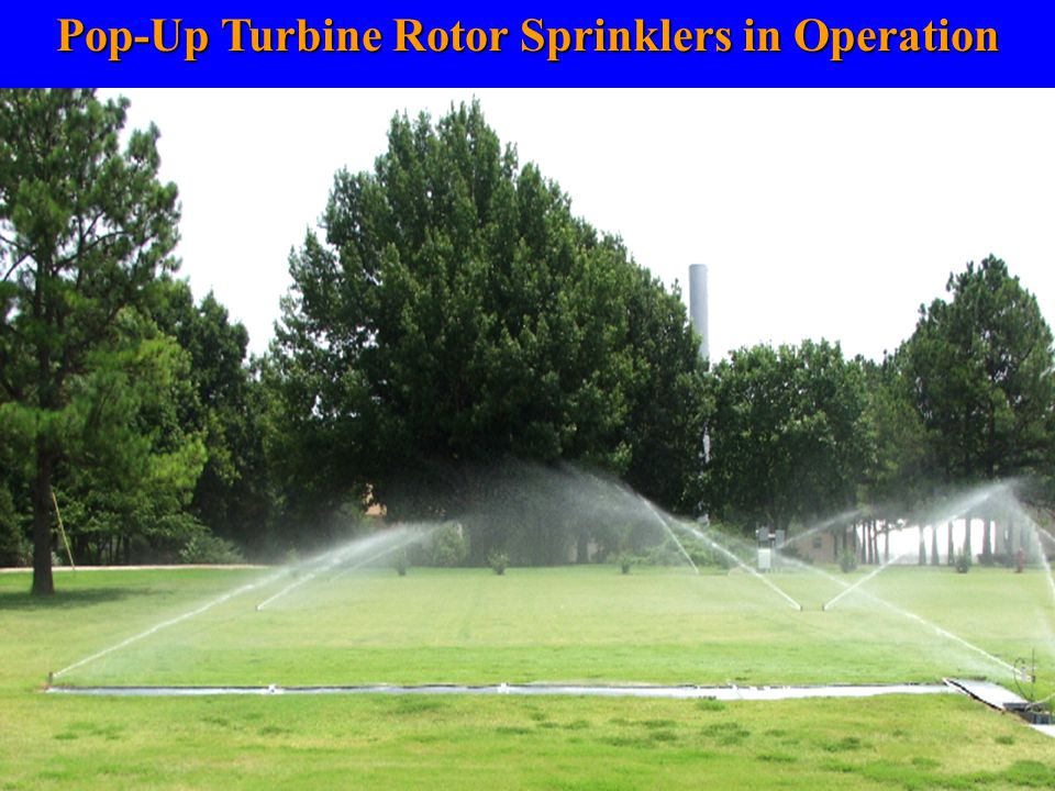 Pop-Up Turbine Rotor Sprinklers in Operation