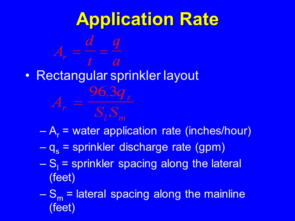 Application Rate Rectangular sprinkler layout