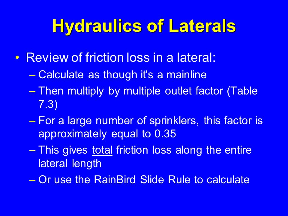 Hydraulics of Laterals