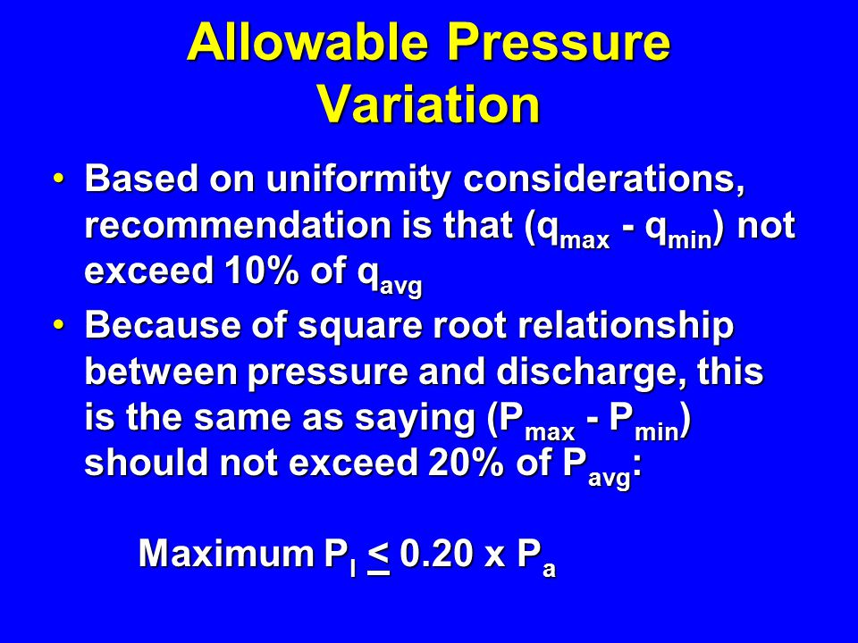 Allowable Pressure Variation