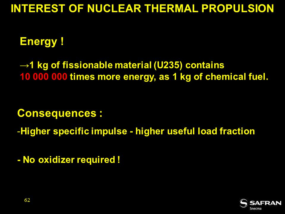 INTEREST OF NUCLEAR THERMAL PROPULSION