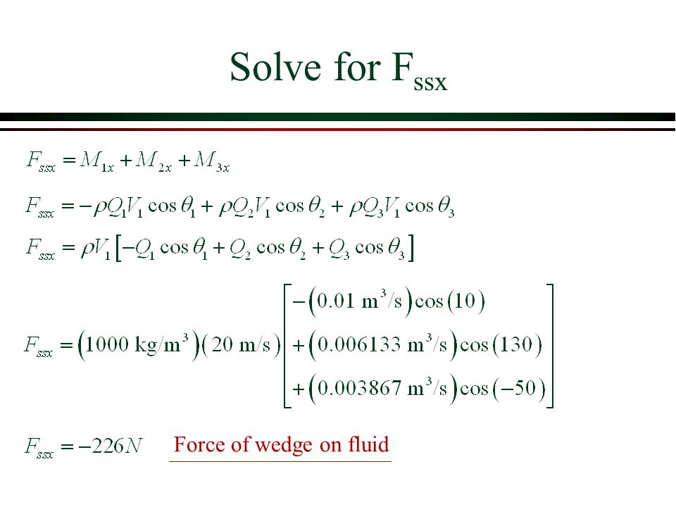 Solve for Fssx Force of wedge on fluid