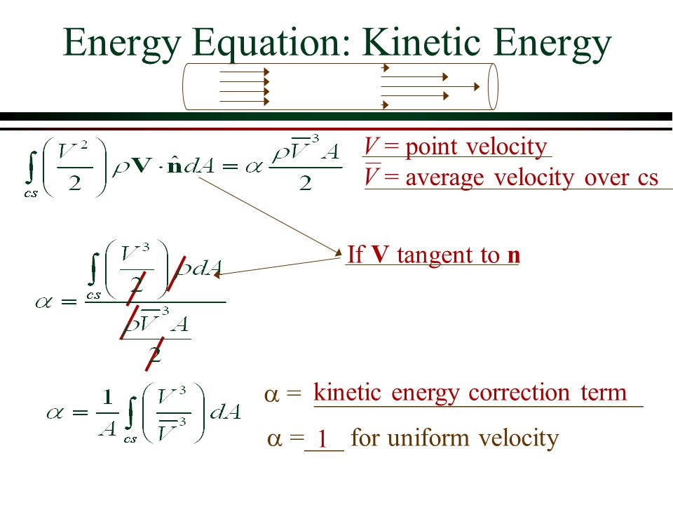Energy Equation: Kinetic Energy