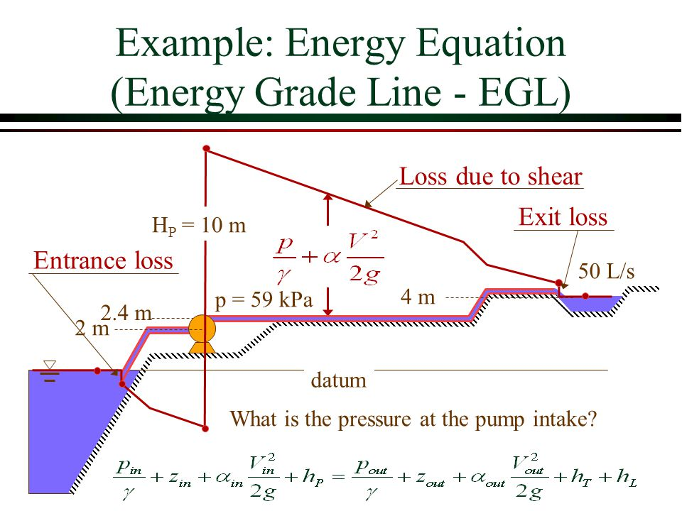 Example: Energy Equation (Energy Grade Line - EGL)