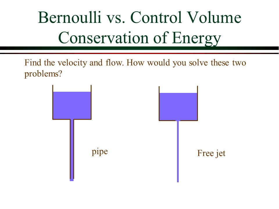 Bernoulli vs. Control Volume Conservation of Energy