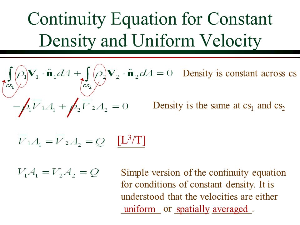 Continuity Equation for Constant Density and Uniform Velocity