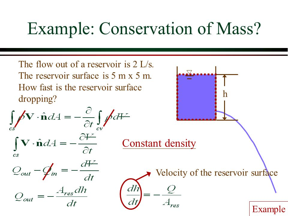 Example: Conservation of Mass
