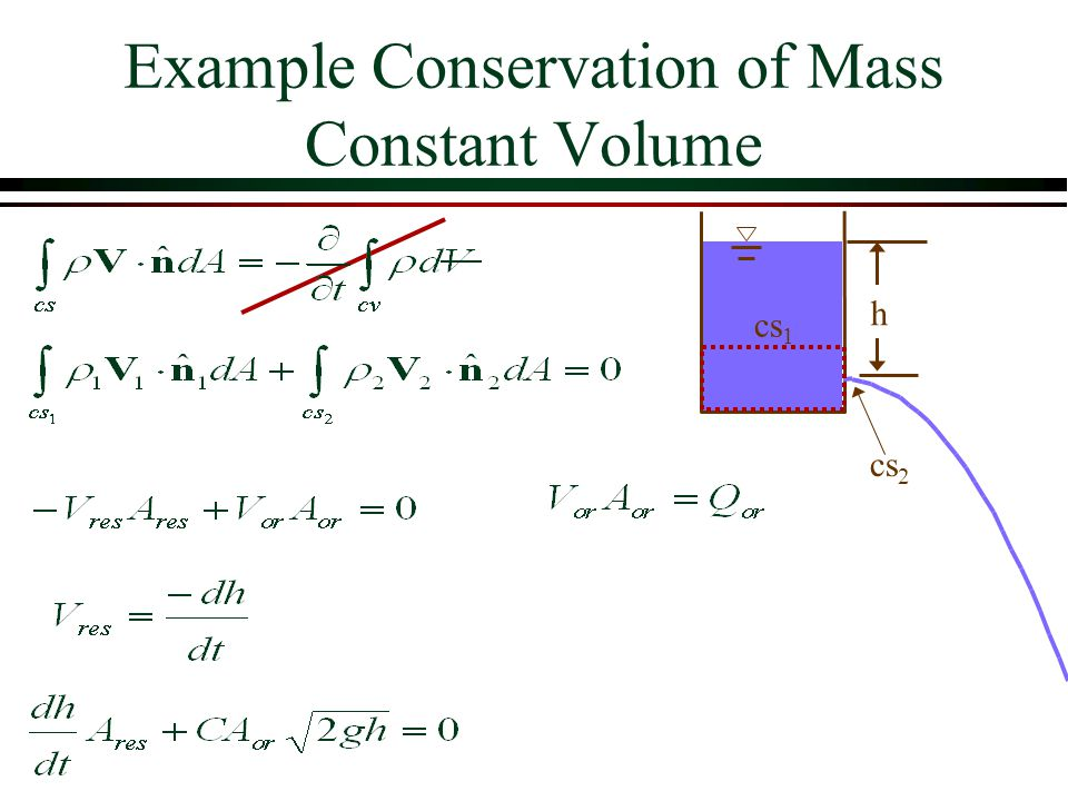 Example Conservation of Mass Constant Volume