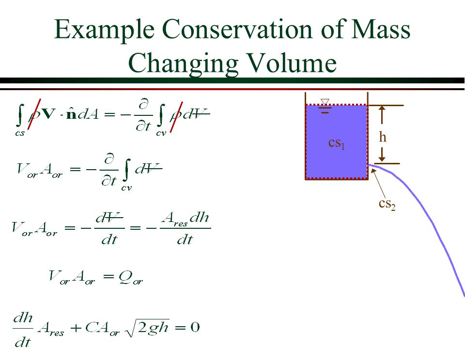 Example Conservation of Mass Changing Volume