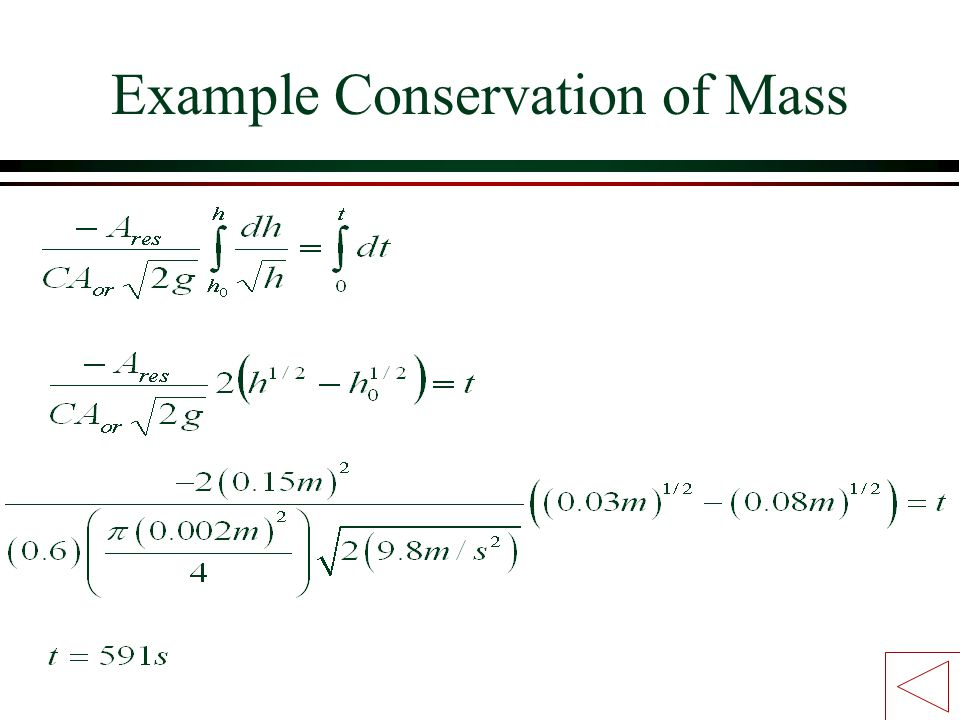 Example Conservation of Mass