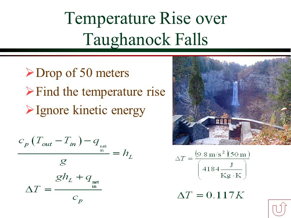 Temperature Rise over Taughanock Falls