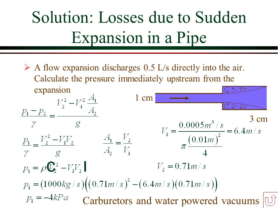 Solution: Losses due to Sudden Expansion in a Pipe