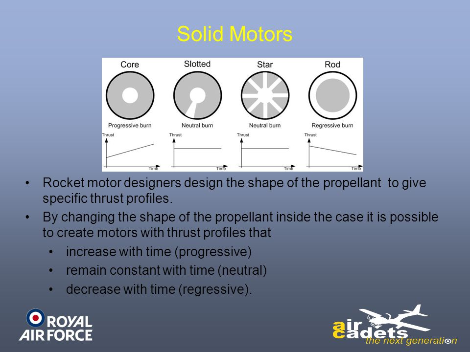 Solid Motors Rocket motor designers design the shape of the propellant to give specific thrust profiles.
