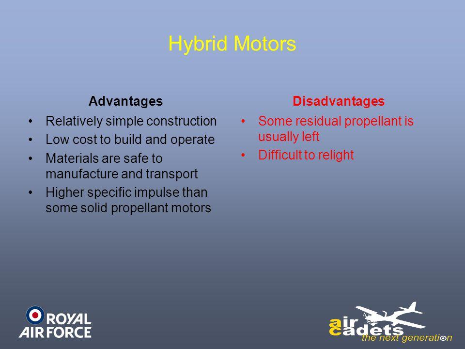 Hybrid Motors Advantages Disadvantages Relatively simple construction