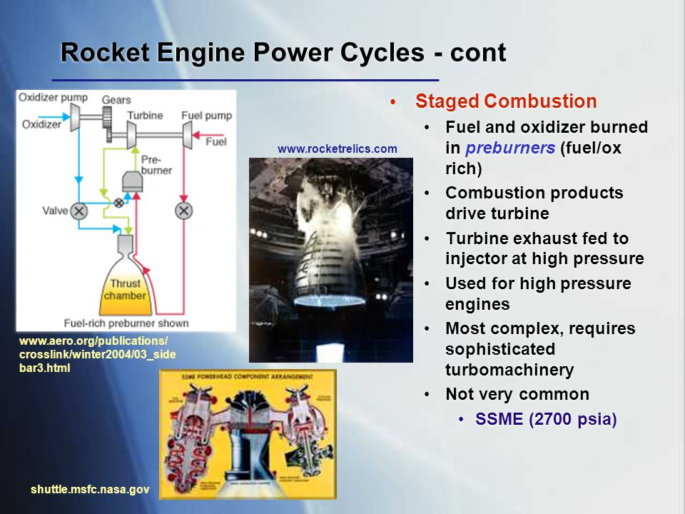 Rocket Engine Power Cycles - cont