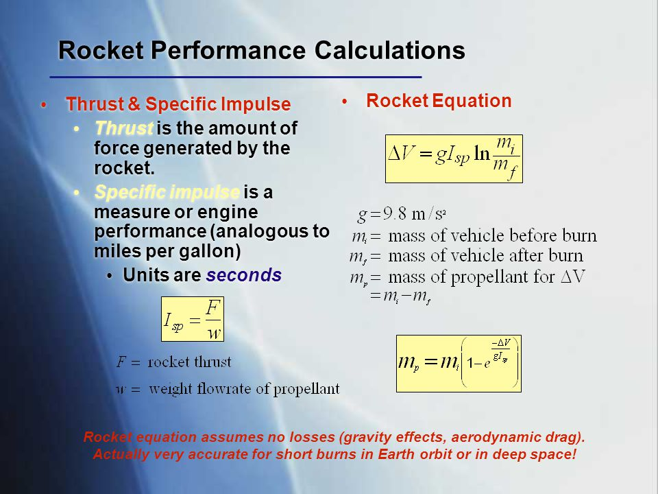 Rocket Performance Calculations