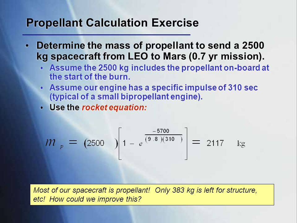 Propellant Calculation Exercise