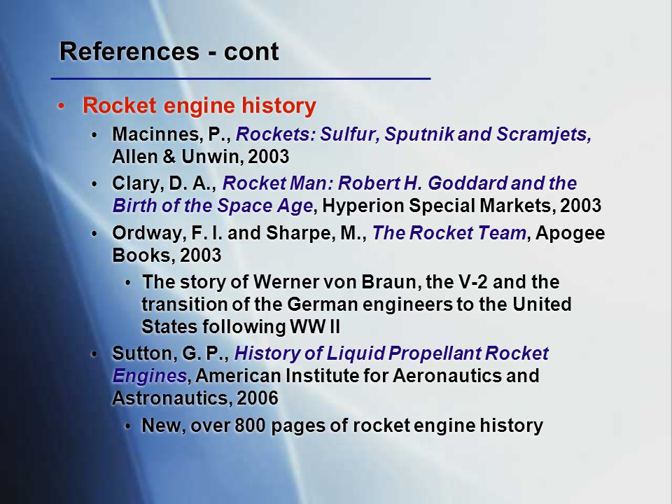 References - cont Rocket engine history