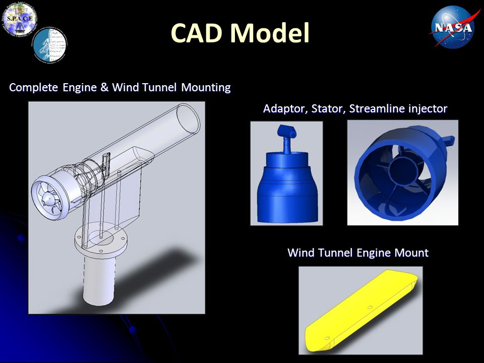 CAD Model Complete Engine & Wind Tunnel Mounting