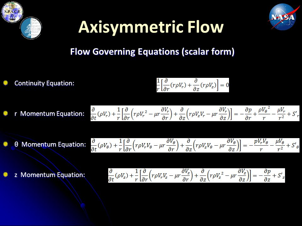 Flow Governing Equations (scalar form)