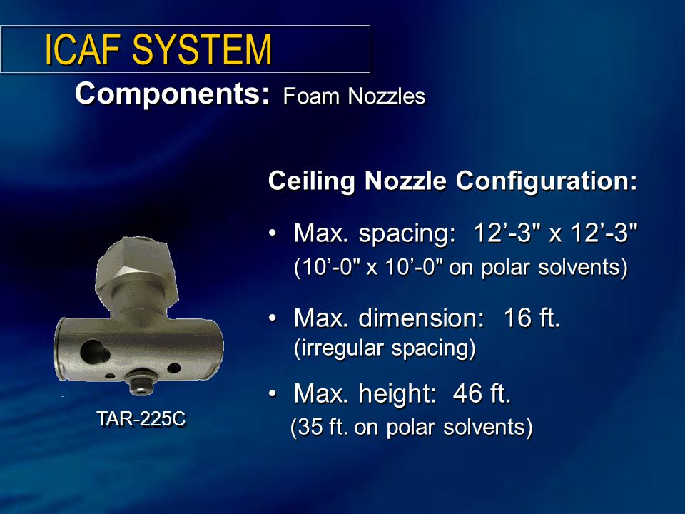 ICAF SYSTEM Components: Foam Nozzles Ceiling Nozzle Configuration: