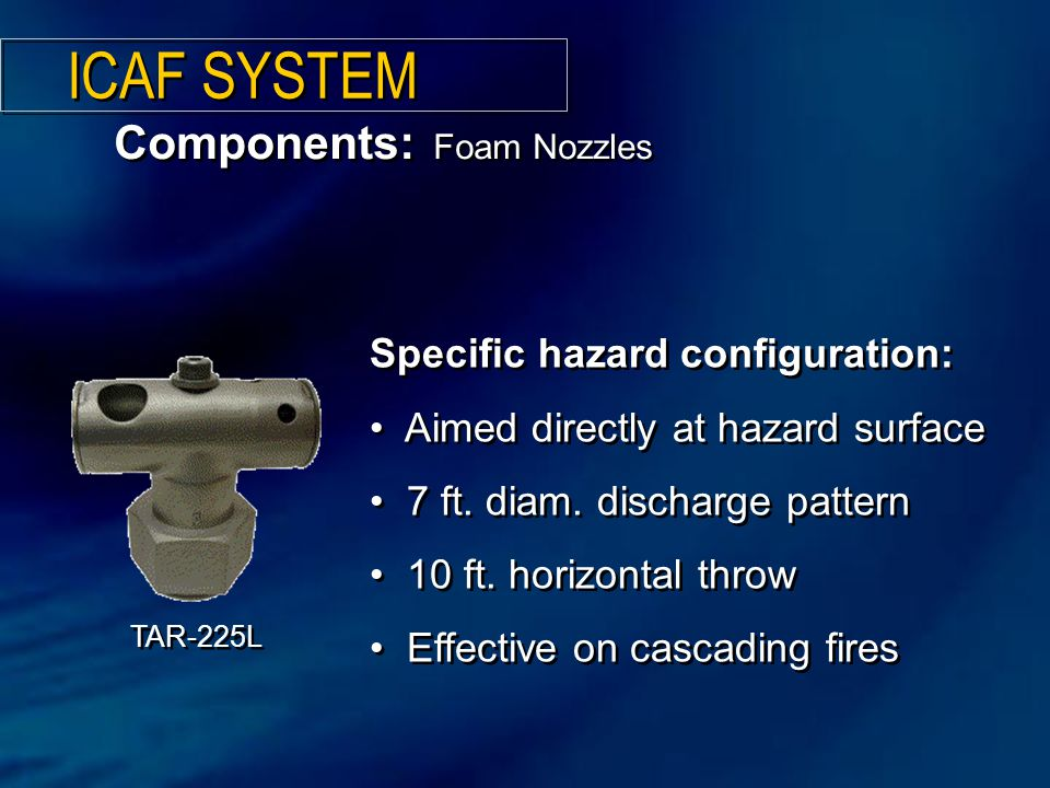 ICAF SYSTEM Components: Foam Nozzles Specific hazard configuration: