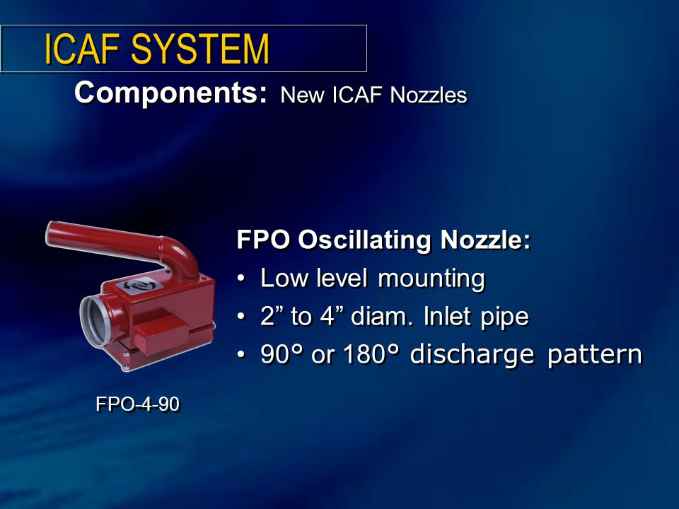 ICAF SYSTEM Components: New ICAF Nozzles FPO Oscillating Nozzle: