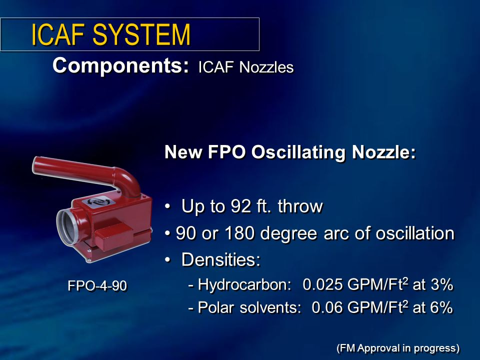 ICAF SYSTEM Components: ICAF Nozzles New FPO Oscillating Nozzle: