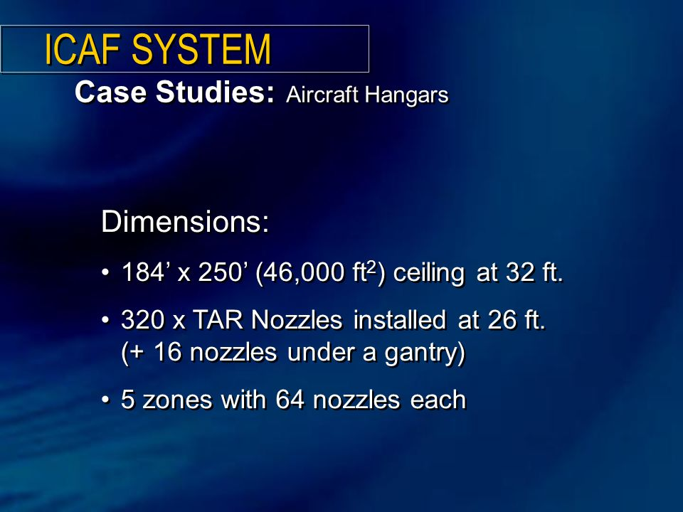 ICAF SYSTEM Case Studies: Aircraft Hangars Dimensions: