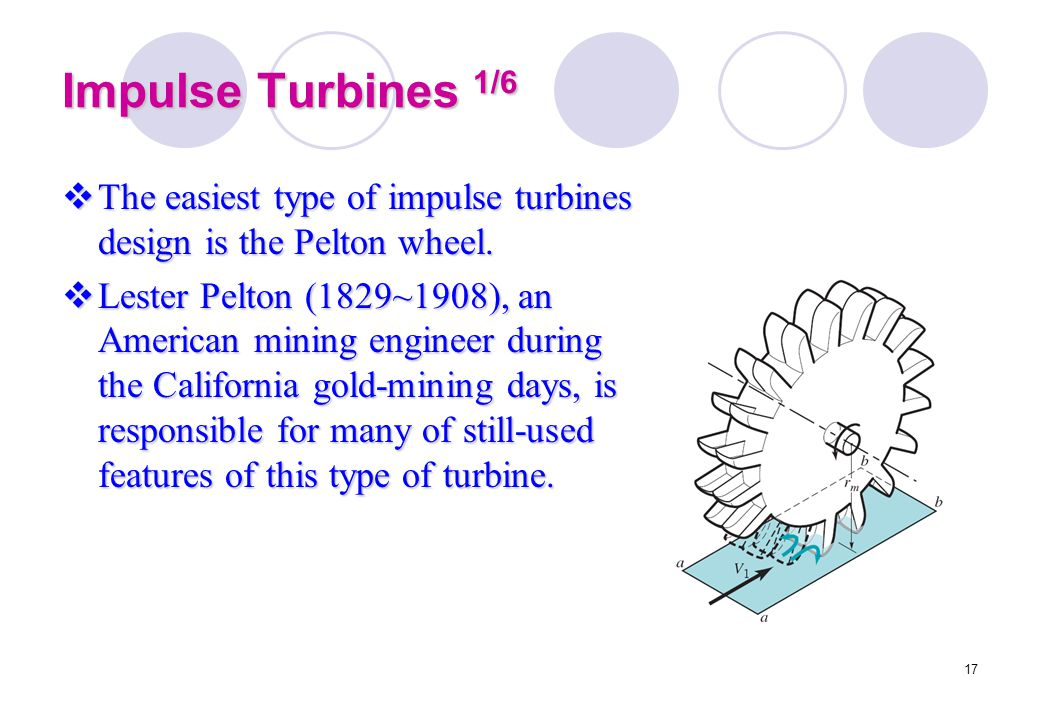 Impulse Turbines 1/6 The easiest type of impulse turbines design is the Pelton wheel.