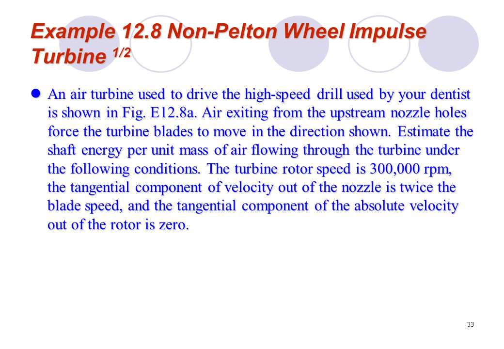 Example 12.8 Non-Pelton Wheel Impulse Turbine 1/2