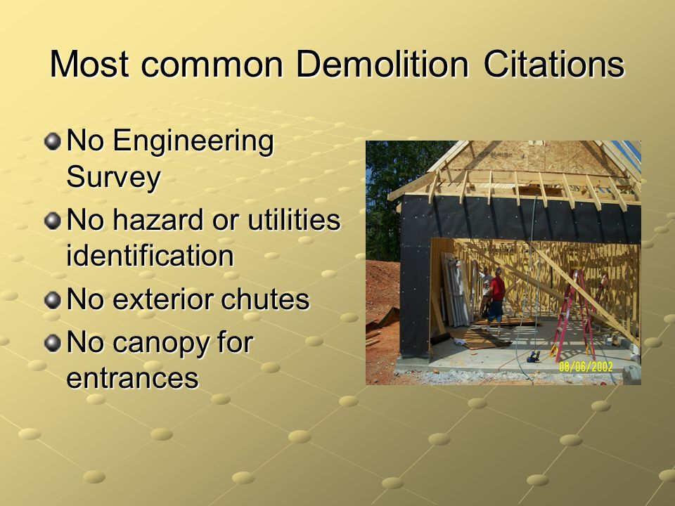Most common Demolition Citations