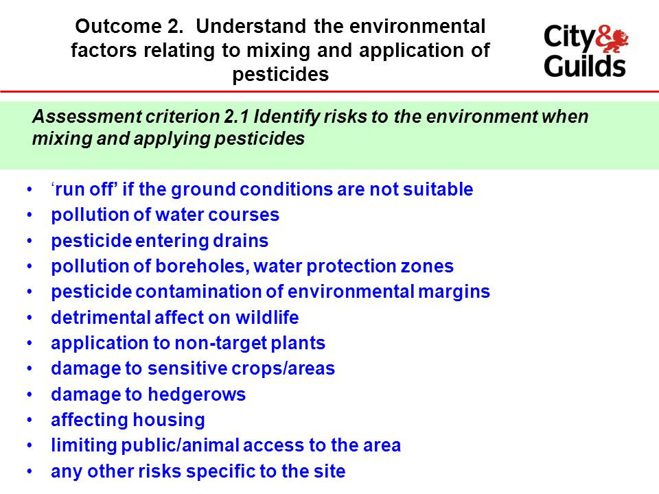 Outcome 2. Understand the environmental factors relating to mixing and application of pesticides