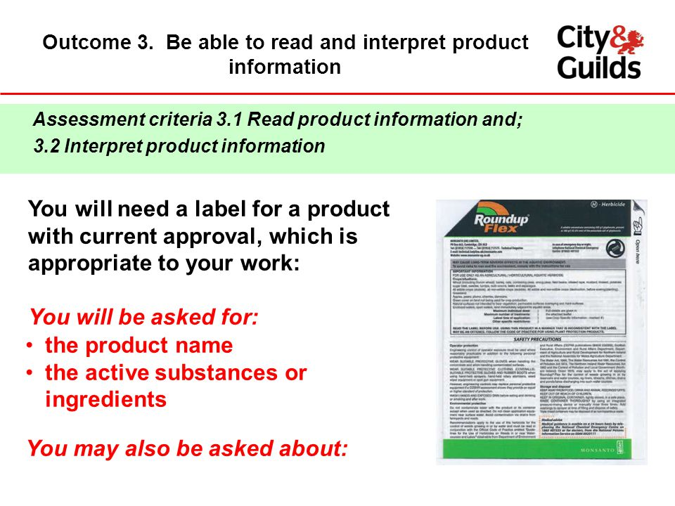 Outcome 3. Be able to read and interpret product information
