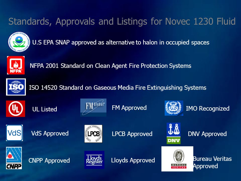 Standards, Approvals and Listings for Novec 1230 Fluid