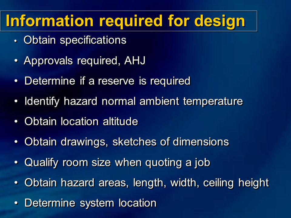 Information required for design