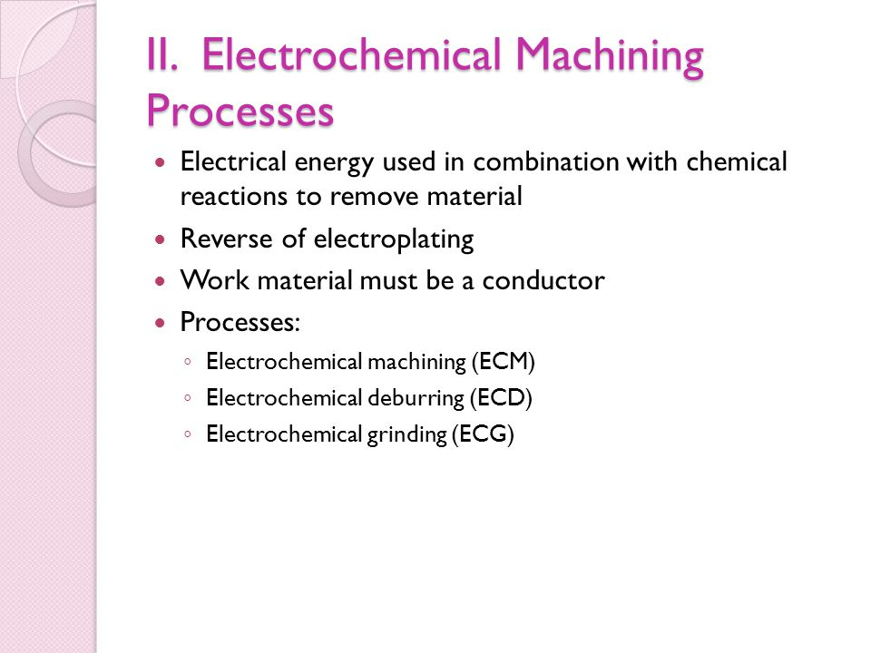 II. Electrochemical Machining Processes