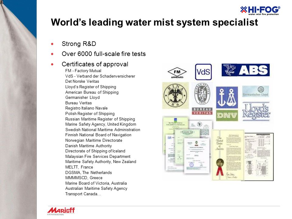 World's leading water mist system specialist